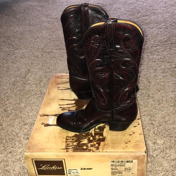 b3c4bddcecd Lucchese women's black cherry goat cowboy boots NWT
